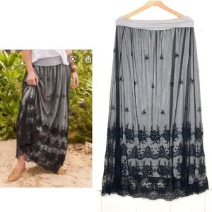 Sundance Catalog Black Lace Maxi Skirt
